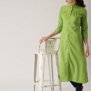 Green Pleats Kurti
