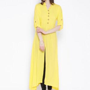 Yellow Front Slit Kurti