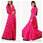 Pink Foil Print Gown
