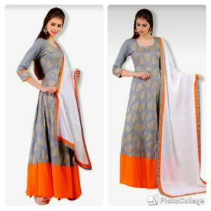 Grey Foil Print Gown