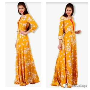 Mustard Printed Gown